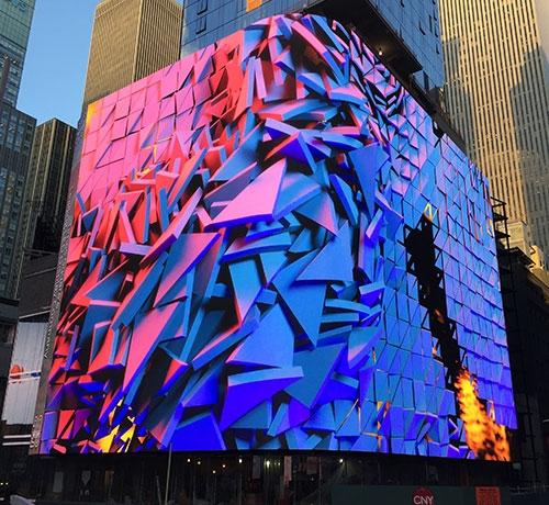 Analog Way banner Times Square