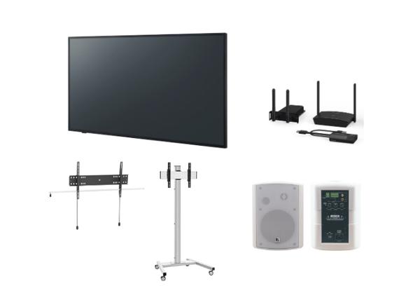 Panasonic-kokouspaketti näytöllä kokoushuoneeseen tai neuvottelutilaan