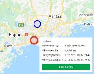 käyttäjiä kartalla KaukoTurva Valvomon näyttökuva