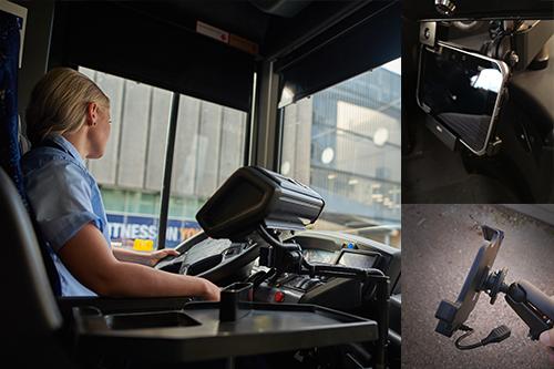 ajoneuvotietokoneet ja telineet on suunniteltu linja-autojen haastaviin olosuhteisiin Kuvat Nysse, Tampereen seudun joukkoliikenne ja Kauko Oy