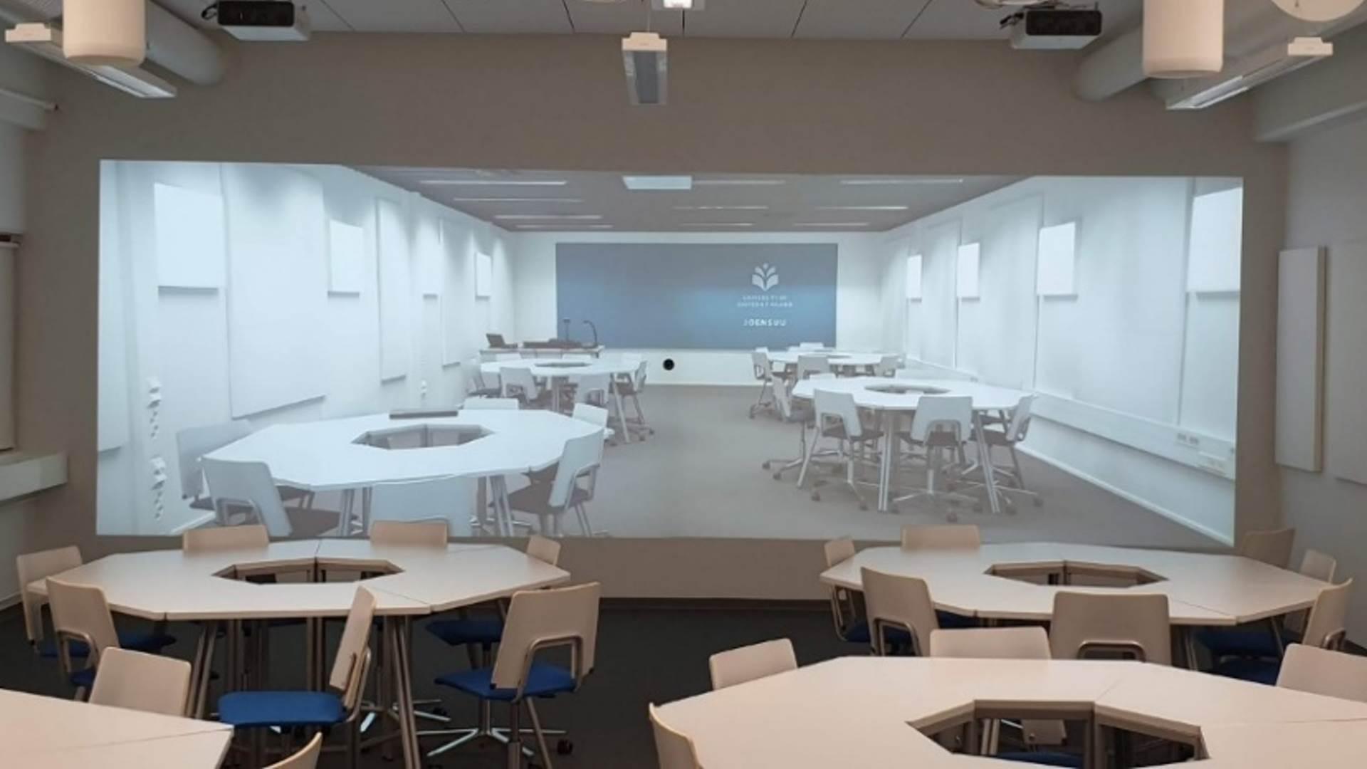 Multilocation Classroom -teknologia yhdistää kaksi luokkaa visuaalisesti toisiinsa Kuva StreamPlay